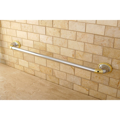 "Kingston Chrome/Polished Brass Magellan ii 24"" single towel bar rack BA621CPB"