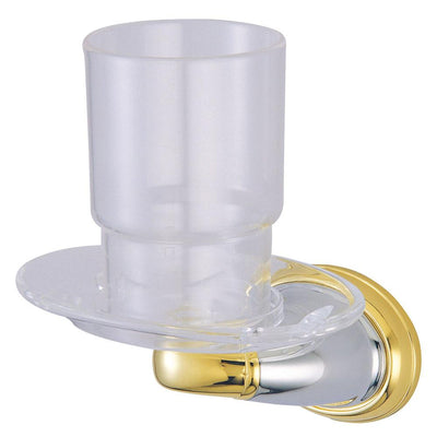 Kingston Chrome/Polished Brass Magellan ii toothbrush/tumbler holder BA626CPB