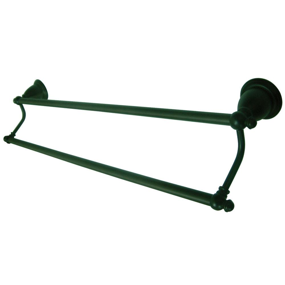 "Kingston Oil Rubbed Bronze English Vintage 24"" Dual Double Towel Bar BA7973ORB"