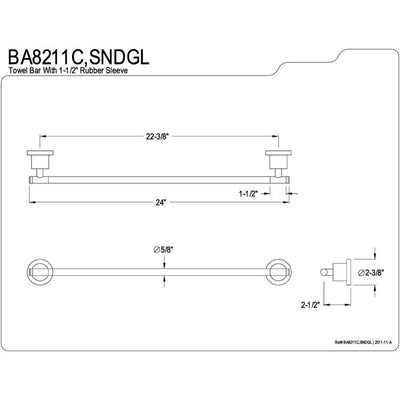 "Kingston Green Eden Satin Nickel Bathroom Accessory: 24"" Towel Bar BA8211SNDGL"