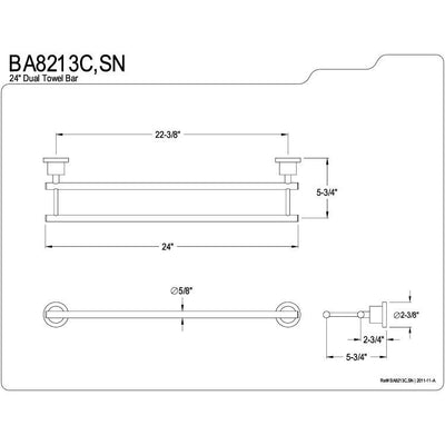 "Kingston Brass Concord Satin Nickel 24"" Dual Double Towel Bar BA8213SN"