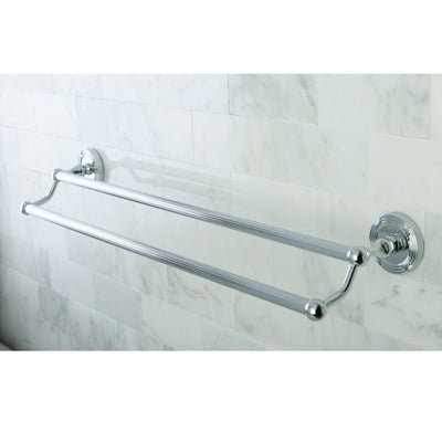 "Kingston Brass Chrome Georgian 24"" dual double towel bar rack BA9313C"