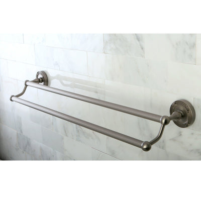 "Kingston Brass Satin Nickel Georgian 24"" dual double towel bar rack BA9313SN"