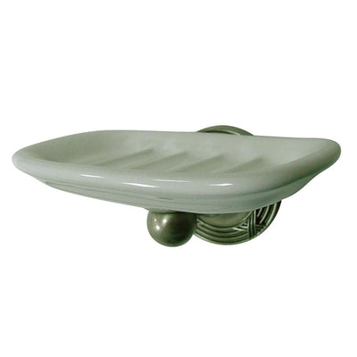 Kingston Brass Satin Nickel Georgian ceramic wall mounted soap dish BA9315SN