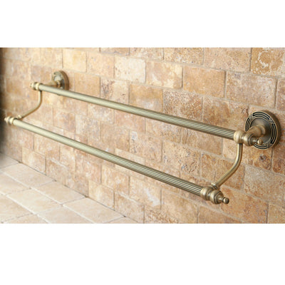 "Kingston Brass Antique Brass Templeton 24"" Dual Double Towel Bar Rack BA9913AB"