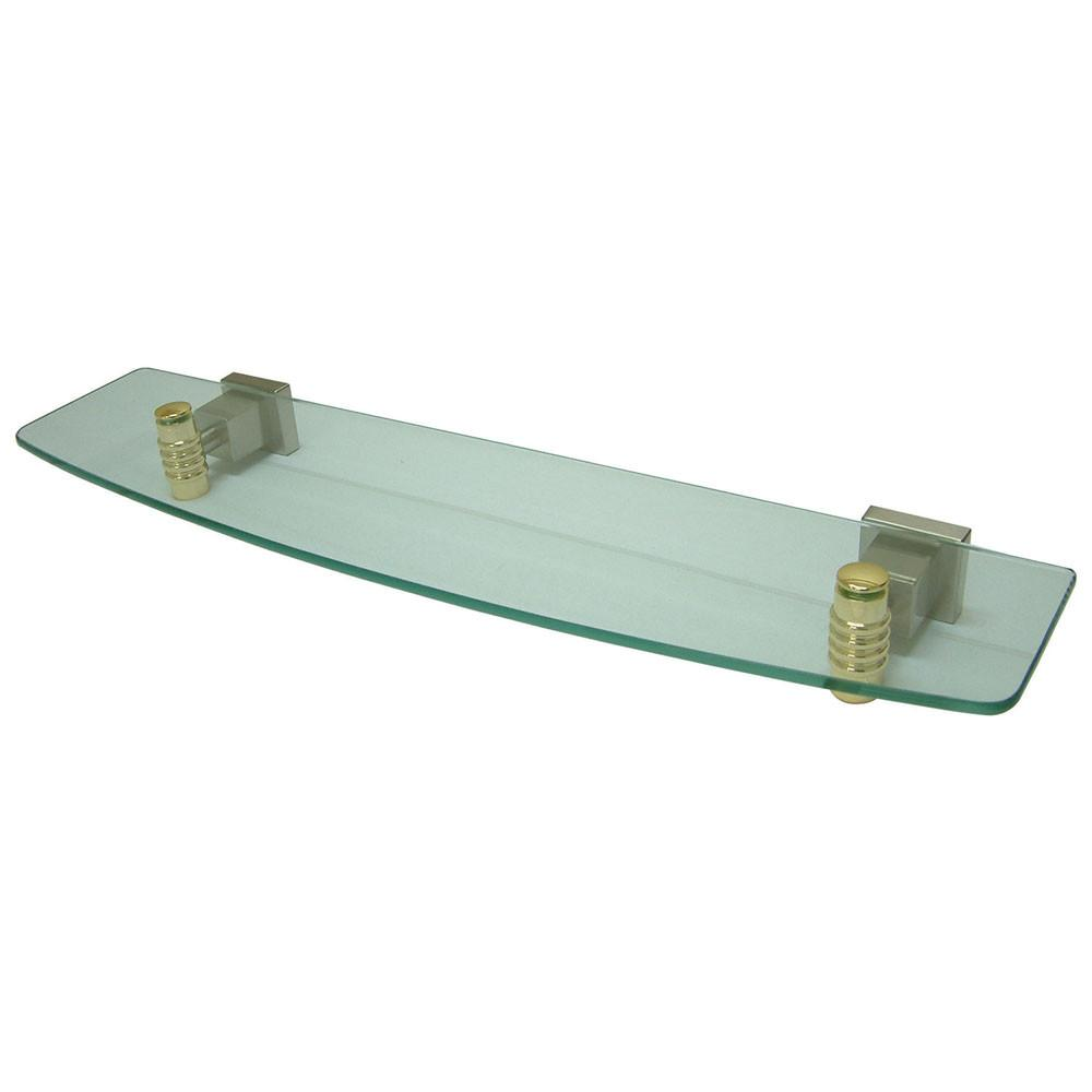 Kingston Bathroom Satin Nickel with Polished Brass Trim Glass Shelf BAH4649SNPB