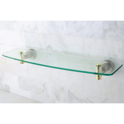 Kingston Bathroom Satin Nickel with Polished Brass Trim Glass Shelf BAH8619SNPB