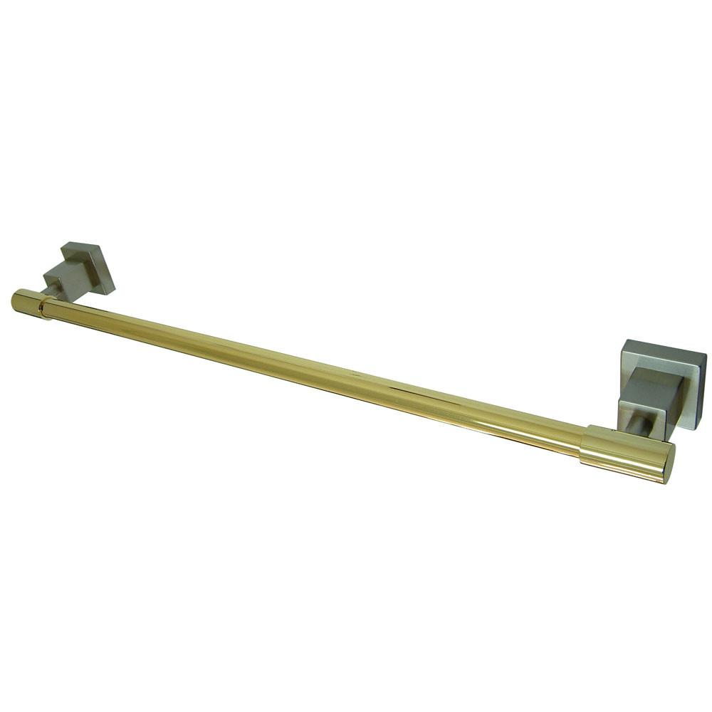 "Kingston Brass Claremont Satin Nickel / Polished Brass 24"" Towel Bar BAH8641SNPB"
