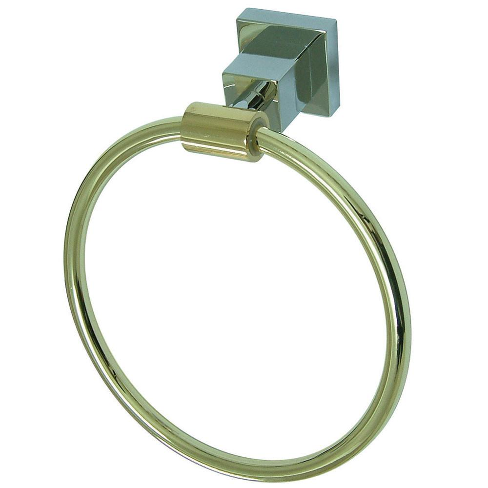 "Kingston Brass Claremont Chrome / Polished Brass 6"" Towel Ring BAH8644CPB"