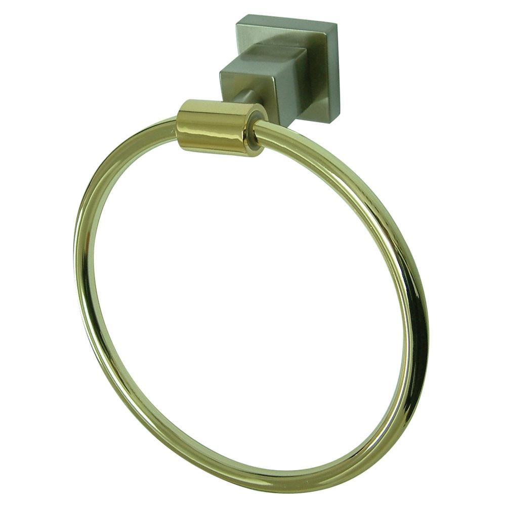 "Kingston Brass Claremont Satin Nickel / Polished Brass 6"" Towel Ring BAH8644SNPB"