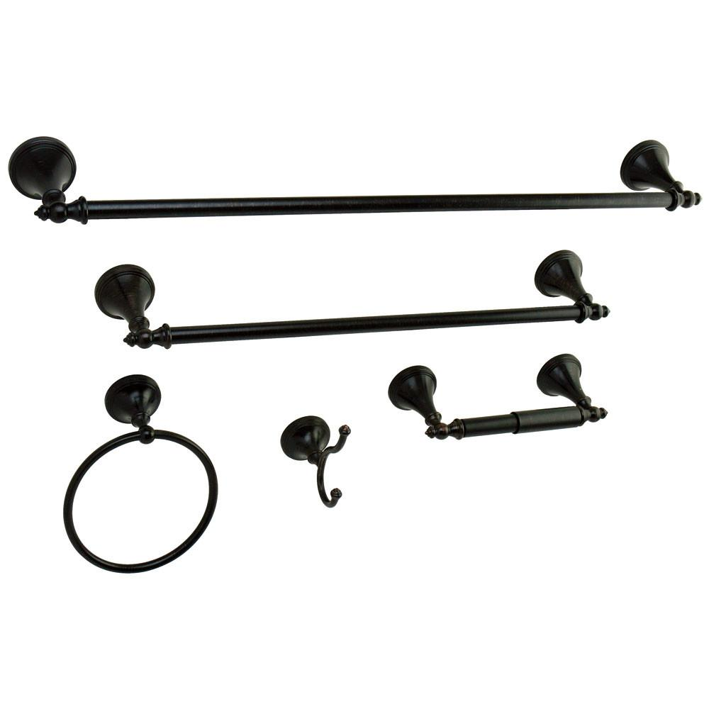 Naples Collection 5-Piece Towel Bar Bath Hardware Set Oil Rubbed Bronze