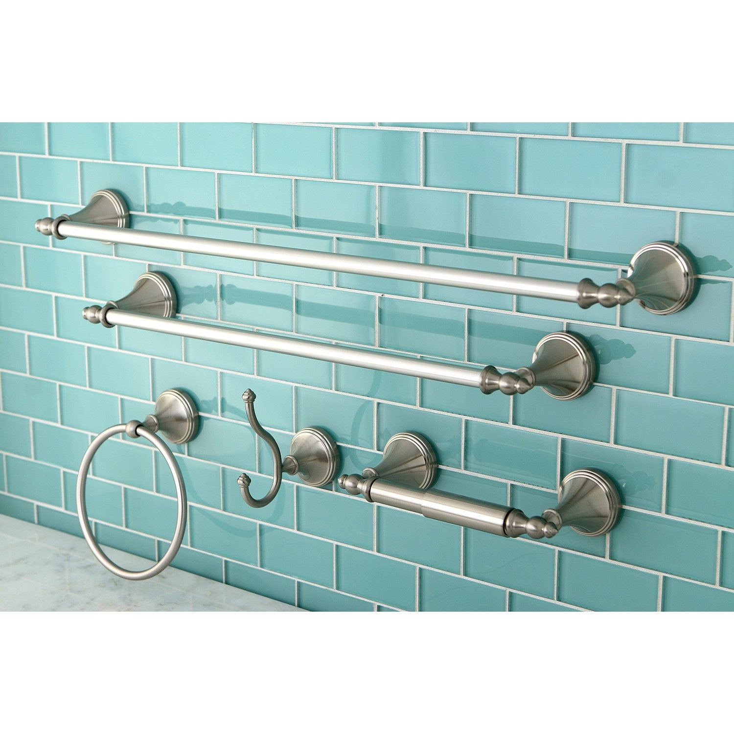 Naples Collection 5-Piece Towel Bar Bath Hardware Set Satin Nickel ...