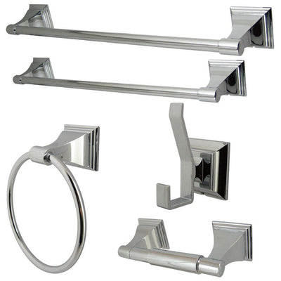 Kingston Monarch Collection 5-Piece Towel Bar Bath Hardware Set Polished Chrome
