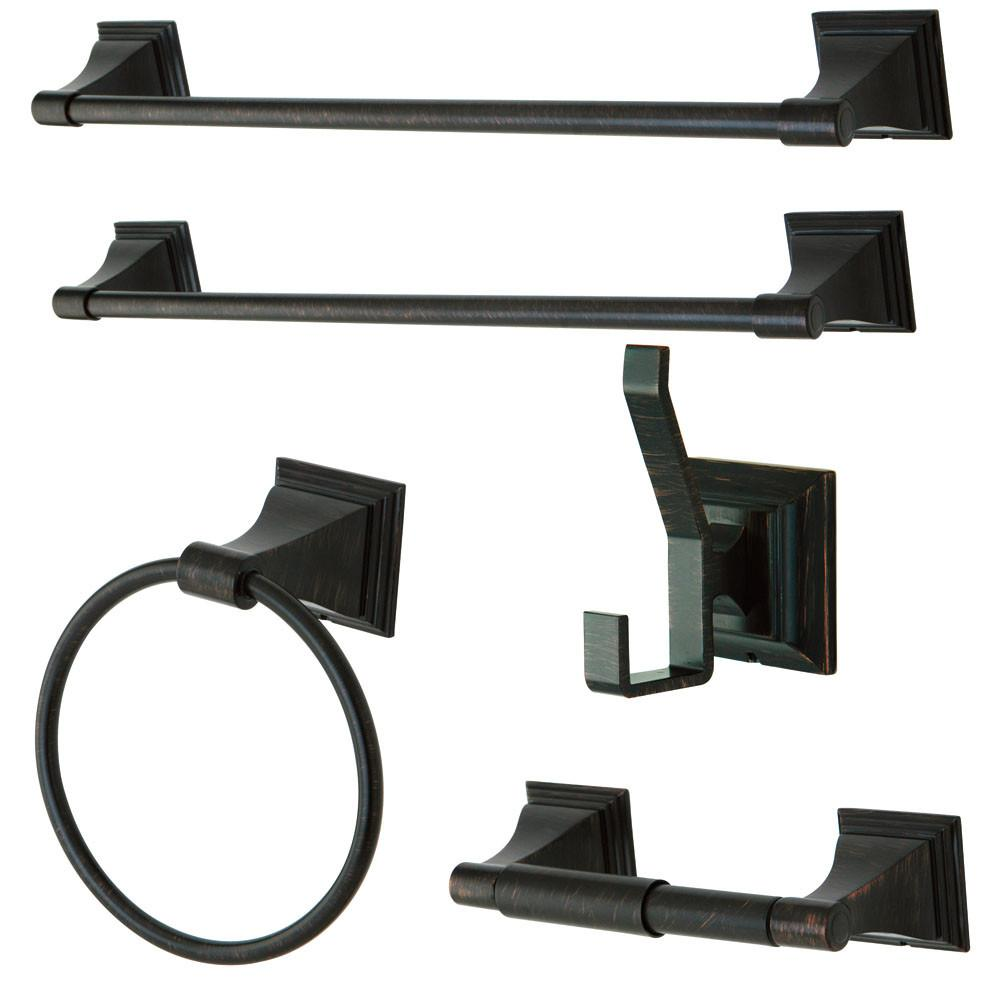 Kingston Monarch Collection 5-Piece Towel Bar Accessory Set Oil Rubbed Bronze