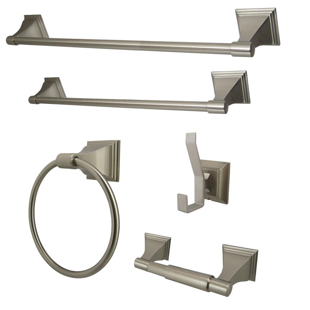 Kingston Monarch Collection 5-Piece Towel Bar Bath Hardware Set Satin Nickel