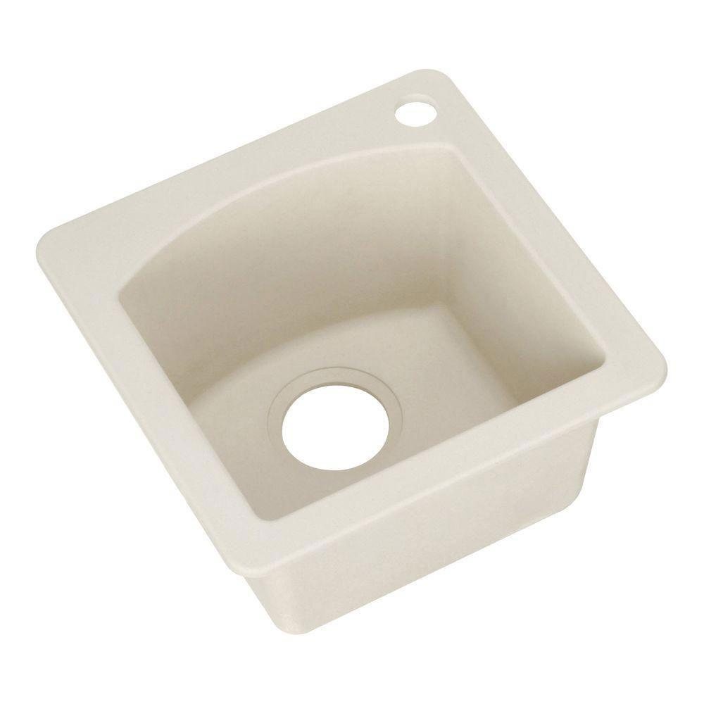 Blanco Diamond Dual Mount Granite 15 inch 1-Hole Single Bowl Bar Sink in Biscuit 222185