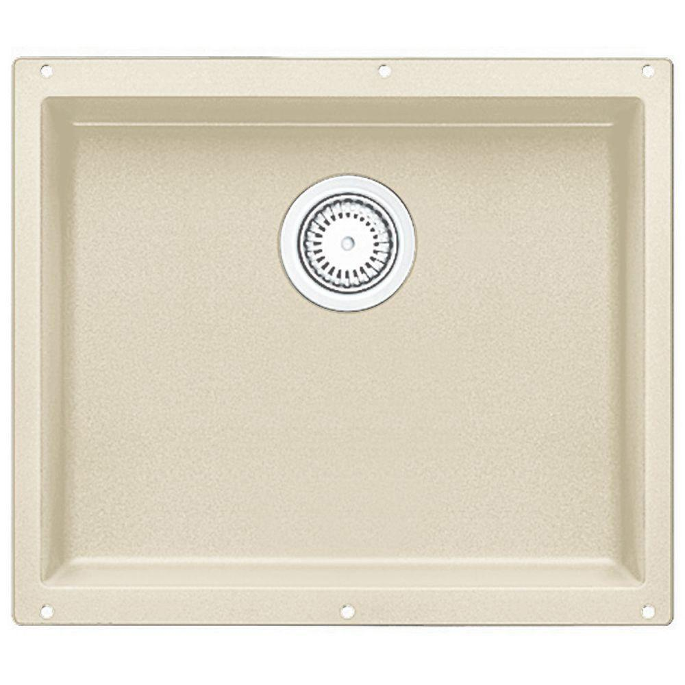Blanco Precis Undermount Composite 20.75x 18x7.5 0-Hole Single Bowl Kitchen Sink in Biscuit 226433
