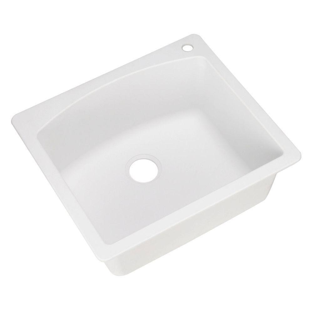 Blanco Diamond Dual Mount Composite 25x10x22 1-Hole Single Bowl Kitchen Sink in White 439561