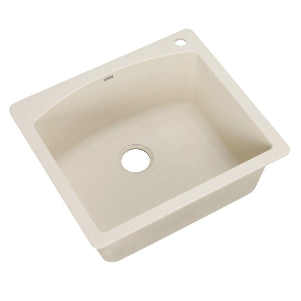Blanco Diamond Dual Mount Composite 25 inch 1-Hole Single Bowl Kitchen Sink in Biscuit 439565