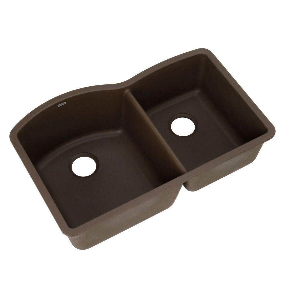 Blanco Diamond Undermount Composite 20.2x9.5x32 0-Hole Double Bowl Kitchen Sink in Cafe Brown 460576