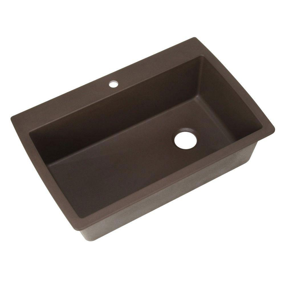 Blanco Diamond Dual Mount Granite 30 inch 1-Hole Single Bowl Kitchen Sink  in Cafe Brown 467338