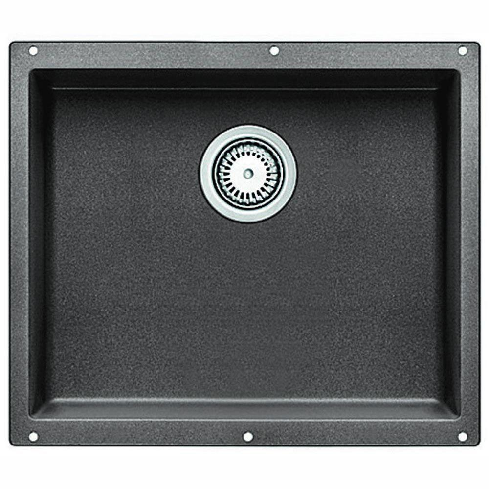 Blanco Precis Large Undermount Composite 20-3/4 inch x 18 inch x 7.5 inch 0-Hole Single Bowl Kitchen Sink in Metallic Gray 467339