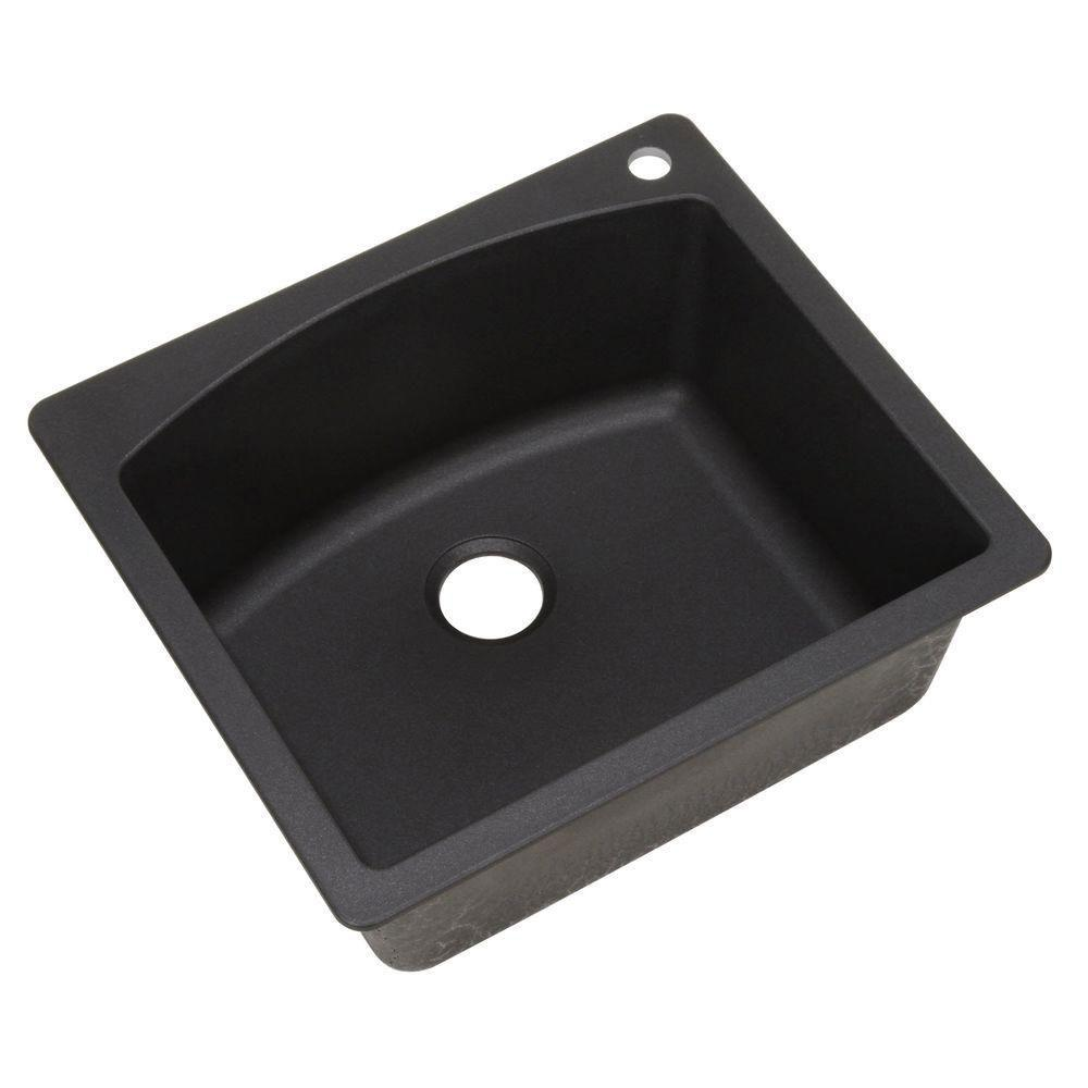 Blanco Diamond Dual Mount Composite 25 inch x 22 inch x 10 inch 1-Hole Single Bowl Kitchen Sink in Anthracite 482497