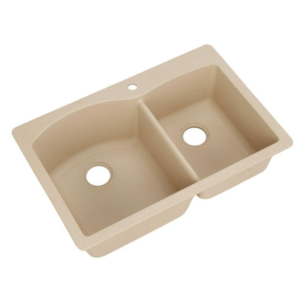 Blanco Diamond Dual Mount Composite 33x22x9.5 1-Hole Double Bowl Kitchen Sink in Biscotti 509528