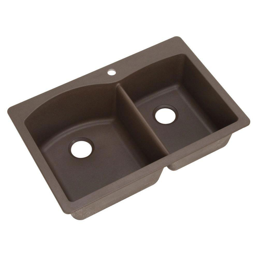 Blanco Diamond Dual Mount Composite 33x22x9.5 1-Hole Double Bowl Kitchen Sink in Cafe Brown 509531