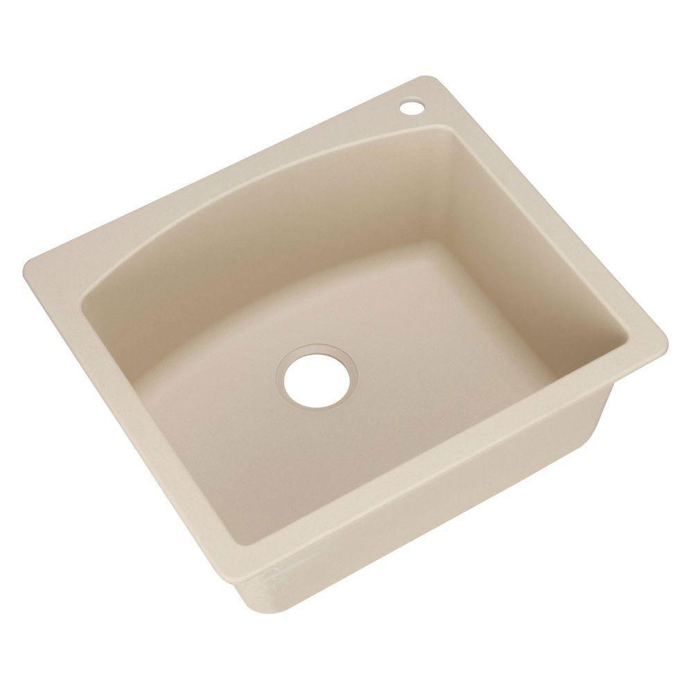 Blanco Diamond Dual Mount Composite 25x22x10 1-Hole Single Bowl Kitchen Sink in Biscotti 509536