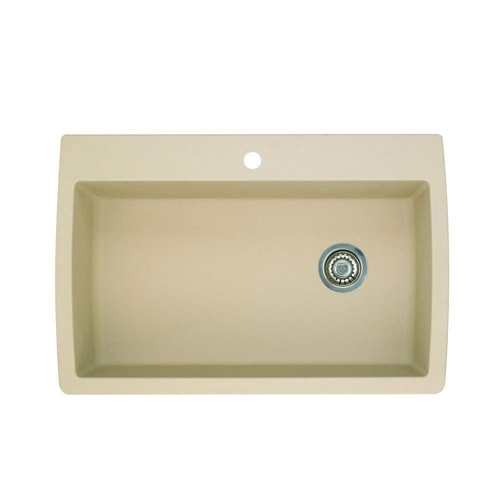 Blanco Diamond Dual Mount Composite 32.5x22x9.5 inch 1-Hole Super Single Bowl Kitchen Sink in Biscotti 509542