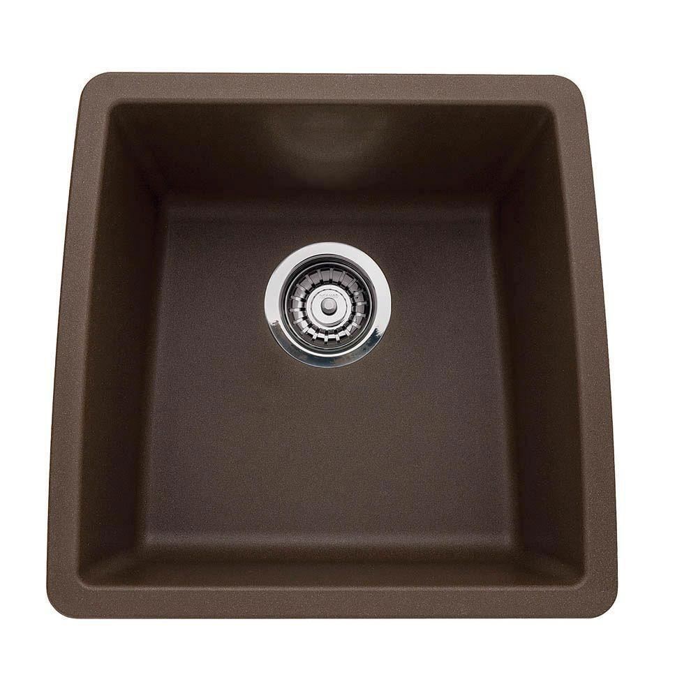 Blanco Performa Undermount Composite 17.5x17x9 inch 0-Hole Single Bowl Kitchen Sink in Cafe Brown 524311