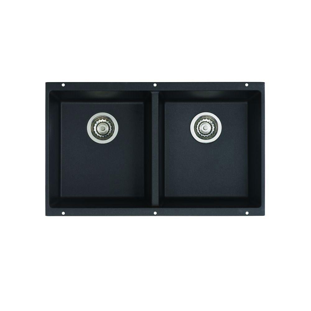 Blanco Precis Undermount Composite 29.75x18.2x8 0-Hole Equal Double Bowl Kitchen Sink in Anthracite 524312
