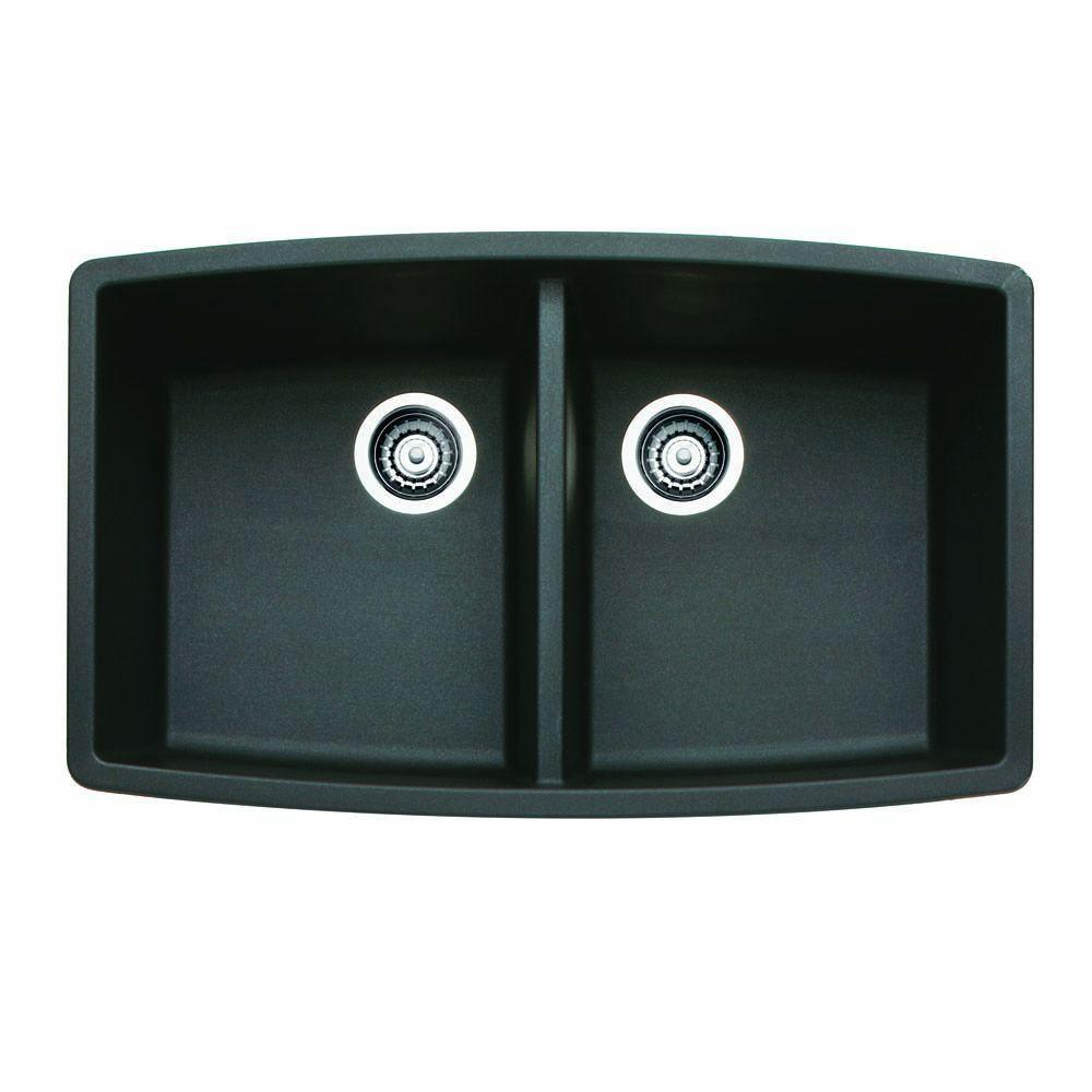 Blanco Performa Undermount Composite 33x20x10 0-Hole Double Bowl Kitchen Sink in Anthracite 524315