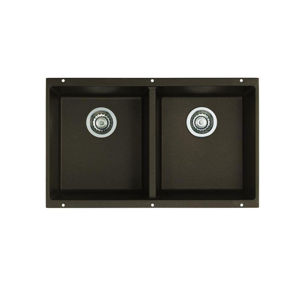 Blanco Precis Undermount Composite 29.75x18.2x8 0-Hole Equal Double Bowl Kitchen Sink in Cafe Brown 524316