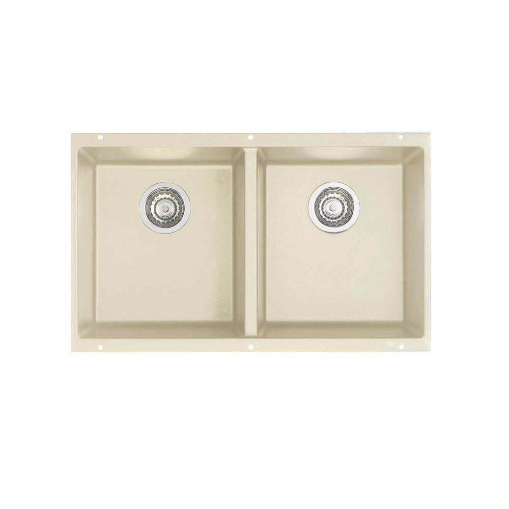Blanco Precis Undermount Composite 29.75x18.2x8 0-Hole Equal Double Bowl Kitchen Sink in Biscuit 524320