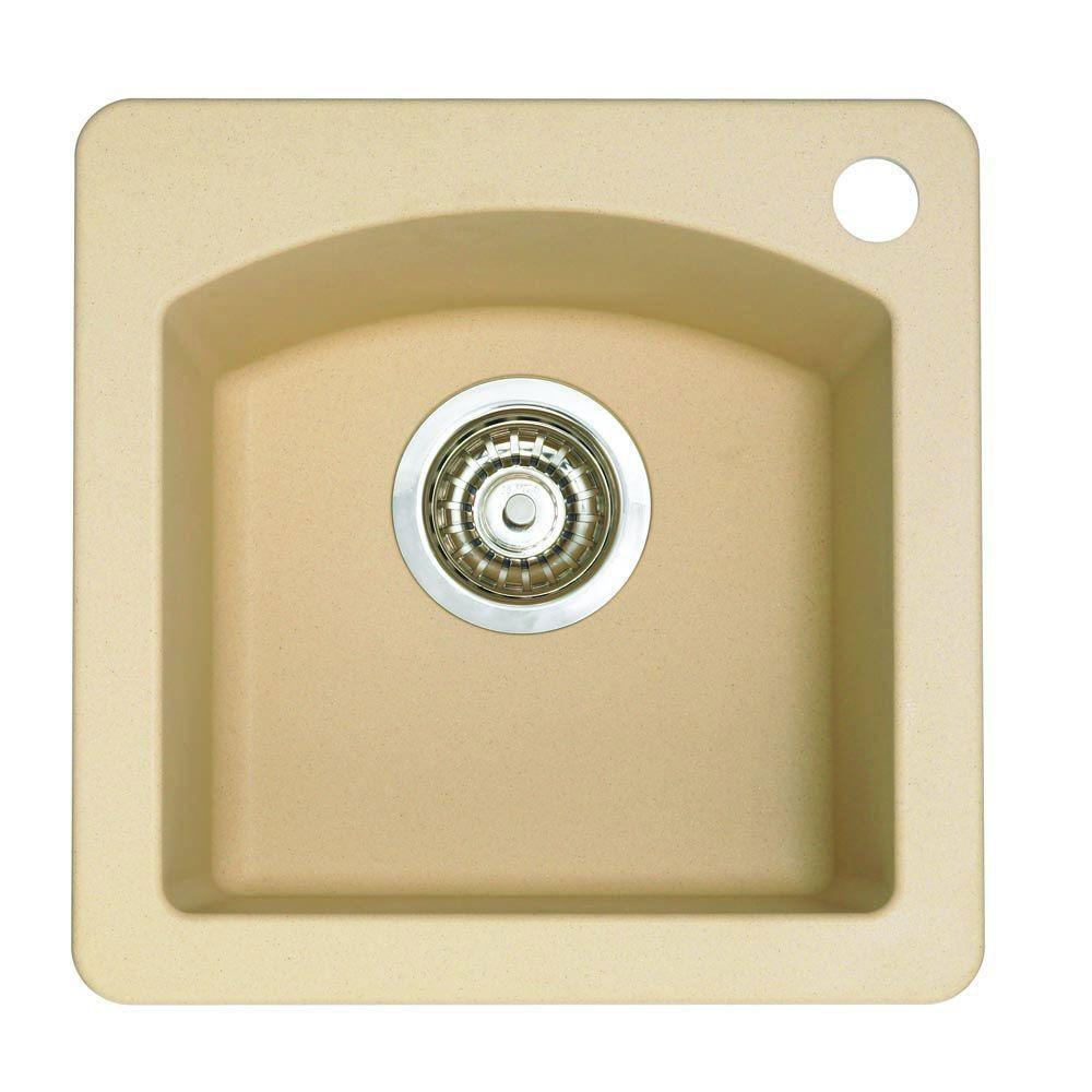 Blanco Diamond Dual Mount Composite 15x15x8 1-Hole Single Bowl Bar Sink in Biscotti 524322
