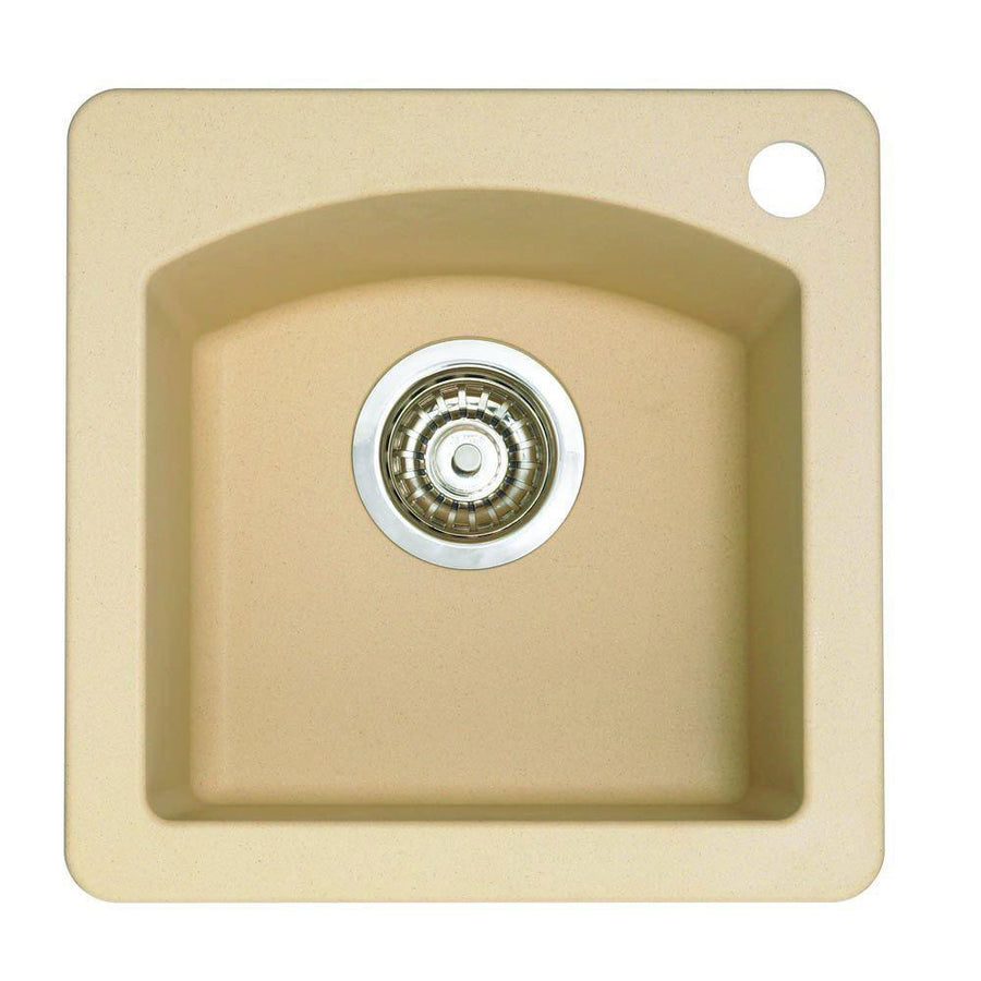 Blanco Diamond Dual Mount Composite 15x15x8 1 Hole Single Bowl Bar Sink In  Biscotti 524322