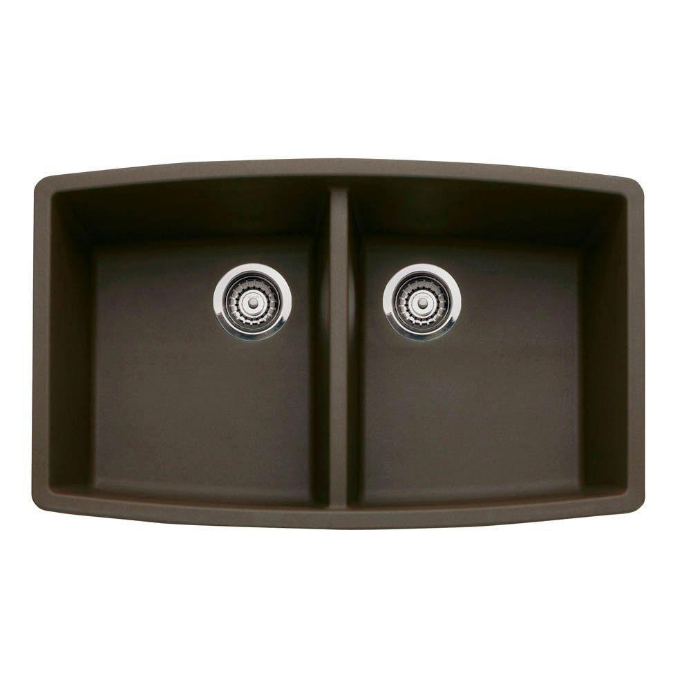 Blanco Performa Undermount Composite 33x20x10 0-Hole Double Bowl Kitchen Sink in Cafe Brown 524324
