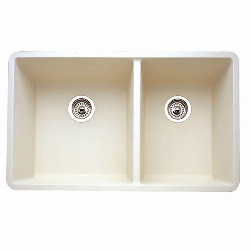 Blanco Precis 1-3/4 Undermount Composite 33x18x9.5 0-Hole Double Bowl Kitchen Sink in Biscuit 524326
