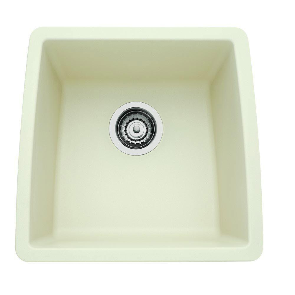 Blanco Performa Undermount Composite 17.5x17x9 0-Hole Single Bowl Kitchen Sink in Biscuit 524336
