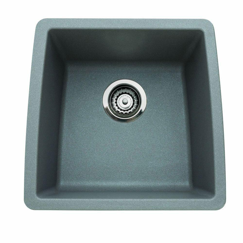 Blanco Performa Undermount Composite 17.5x17x9 0-Hole Single Bowl Kitchen Sink in Metallic Gray 524340