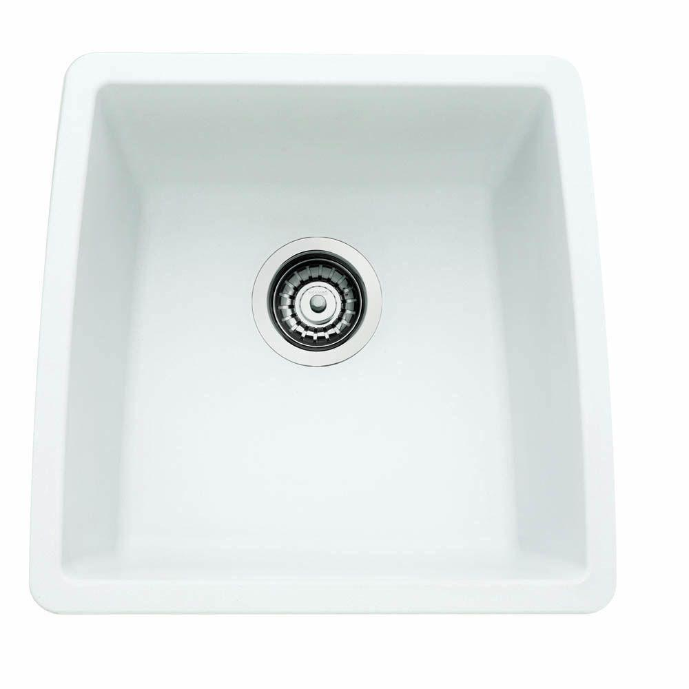 Blanco Performa Undermount Composite 17.5x17x9 0-Hole Single Bowl Kitchen Sink in White 524344
