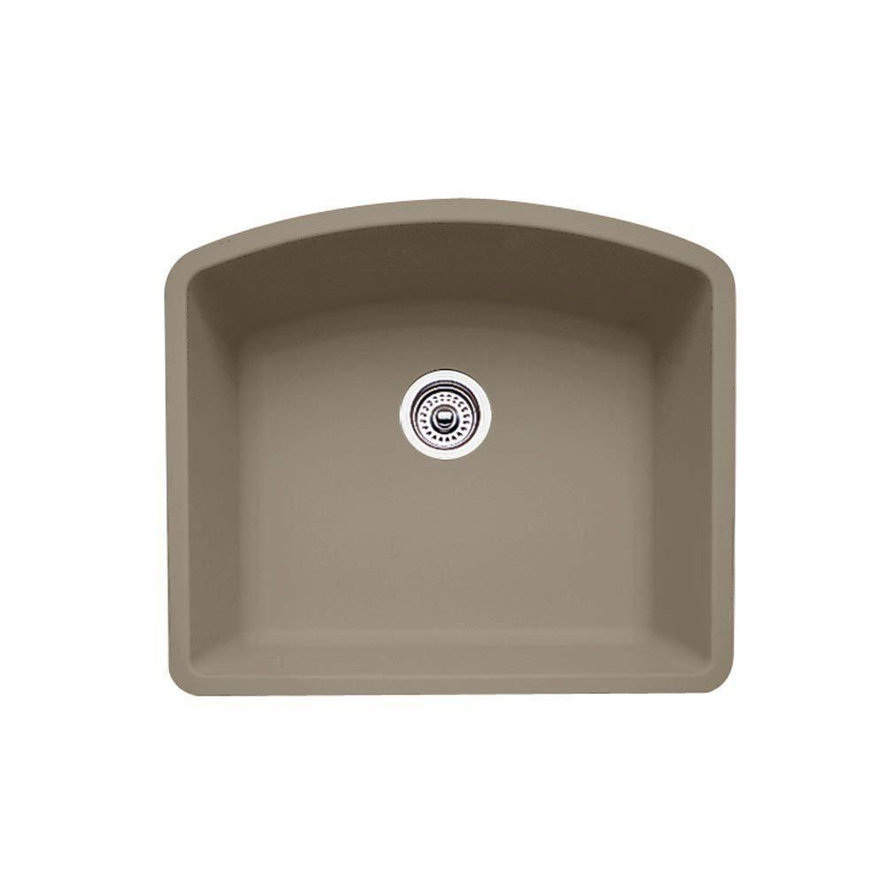 Blanco Diamond Undermount Granite 24 inch 0-Hole Single Bowl Kitchen Sink in Truffle 537972