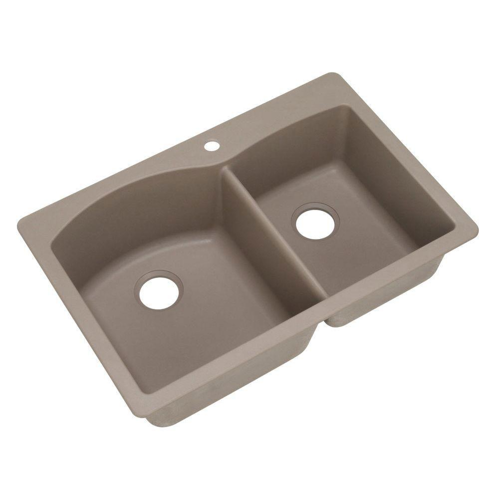 Blanco Diamond Dual Mount Composite 33 inch 1-Hole Double Bowl Kitchen Sink in Truffle 537975