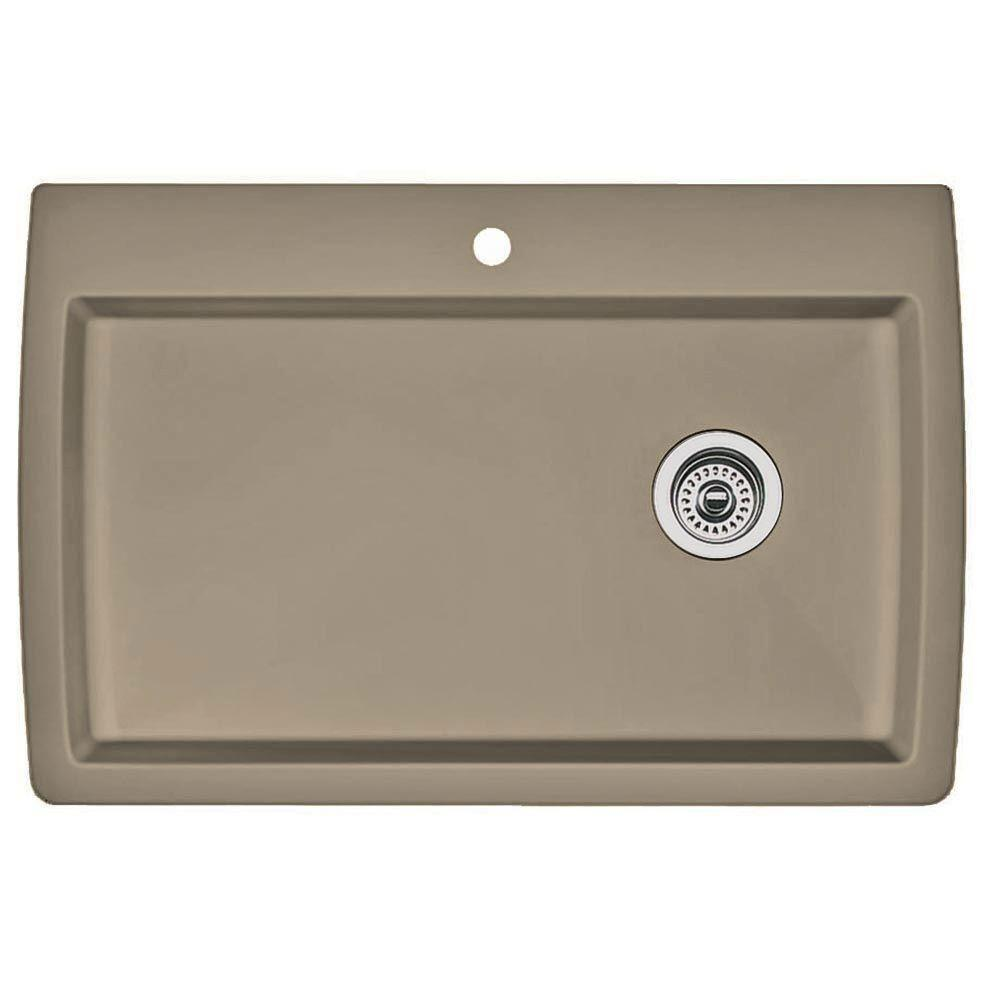 Blanco Diamond Dual Mount Composite 32.75x22x9.5 1-Hole Single Bowl Kitchen Sink in Truffle 537980