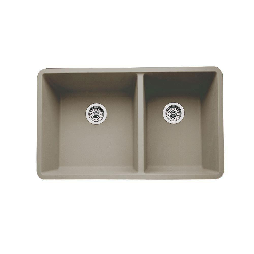 Blanco Precis Undermount Composite 33x18x9.5 inch 0-Hole Double Bowl Kitchen Sink in Truffle 537987
