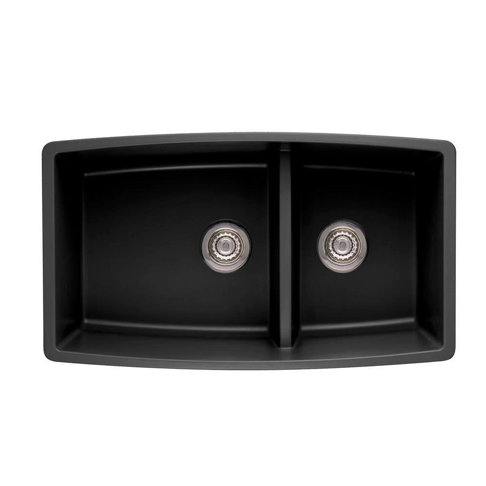 Blanco Performa Undermount Composite 33x19x10 inch 0-Hole Double Bowl Kitchen Sink in Anthracite 537992