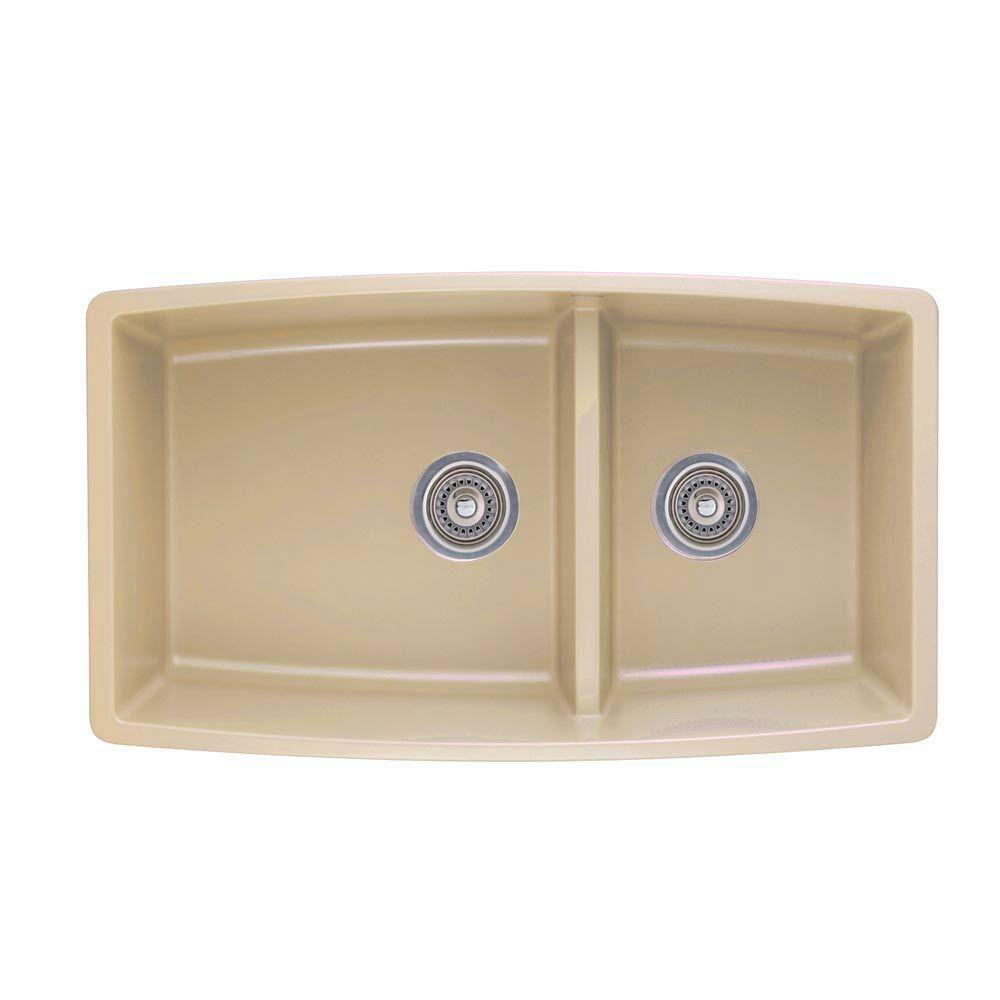 Blanco Performa Undermount Composite 33x19x10 inch 0-Hole Double Bowl Kitchen Sink in Biscotti 537995