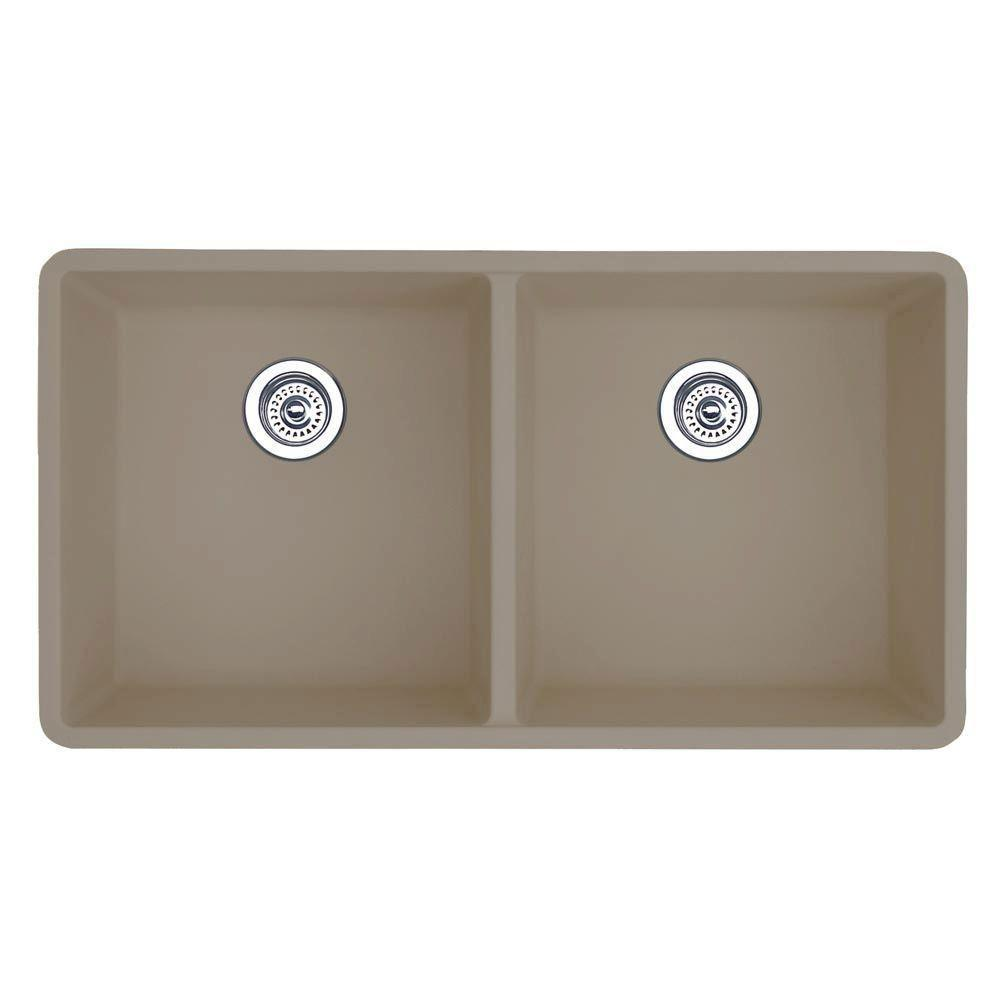 Blanco Precis Undermount Composite 29.75 inch 0-Hole Equal Double Bowl Kitchen Sink in Truffle 538028
